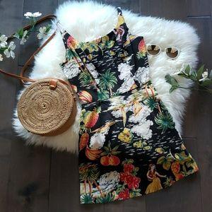 Vintage Pin-Up Girl Hawaiian Mini Dress
